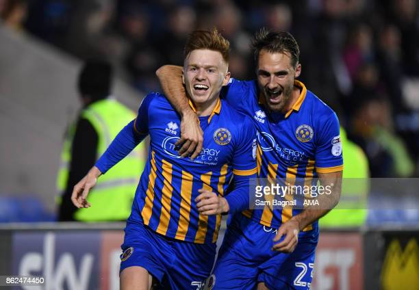 Jon Nolan of Shrewsbury Town celebrates after scoring a goal to make it 30 during the Sky Bet League One match between Shrewsbury Town and Bristol...
