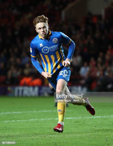 Jon Nolan of Shrewsbury Town celebrates after scoring a goal to make it 01 during the Sky Bet League One Play Off Semi FinalFirst Leg between...