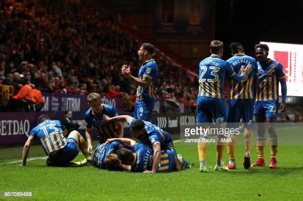 Jon Nolan of Shrewsbury Town celebrates with his team mates after scoring a goal to make it 01 during the Sky Bet League One Play Off Semi FinalFirst...