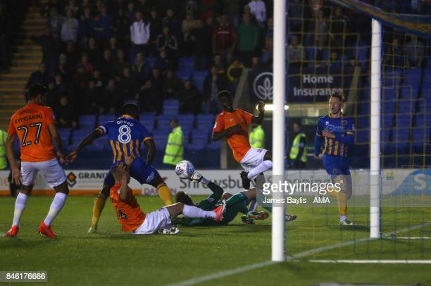 Jon Nolan of Shrewsbury Town scores a goal to make it 10 during the Sky Bet League One match between Shrewsbury Town and Southend United at...