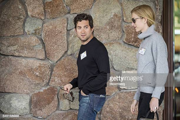 Jon Oringer chairman and chief executive officer of Shutterstock Inc left arrives for the Allen Co Media and Technology Conference in Sun Valley...