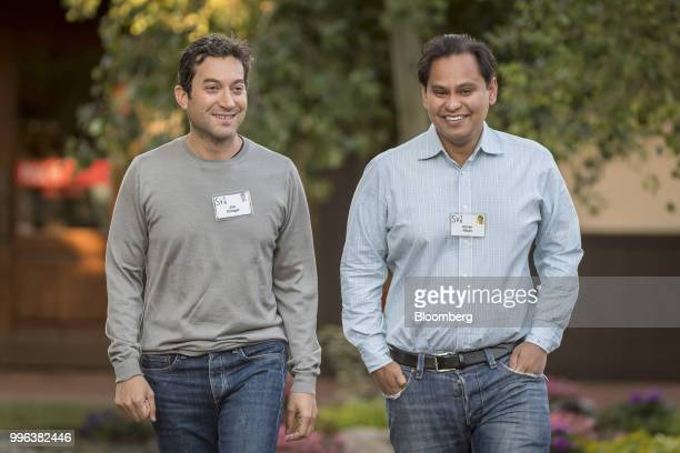Jon Oringer chairman and chief executive officer of Shutterstock Inc and Imran Khan chief strategy officer of Snap Inc arrive for a morning session...