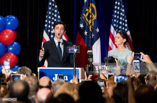 Jon Ossoff delivers his concession speech to supporters at his election night watch party in Atlanta on June 20 2017 Democrat Ossoff faced off...
