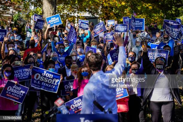 Jon Ossoff holds a campaign event at Grant Park on Friday, Nov. 6, 2020 in Atlanta, GA. Ossoff, who is challenging incumbent U.S. Sen. David Perdue,...