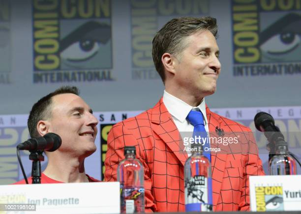 Jon Paquette and Yuri Lowenthal speak onstage during the Marvel Games Panel during ComicCon International 2018 at San Diego Convention Center on July...