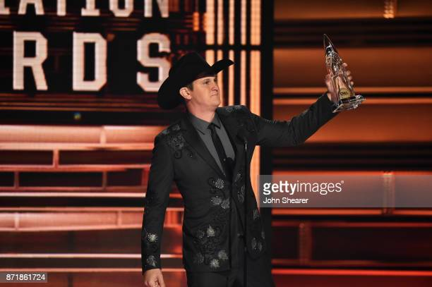Jon Pardi accepts an award onstage at the 51st annual CMA Awards at the Bridgestone Arena on November 8 2017 in Nashville Tennessee