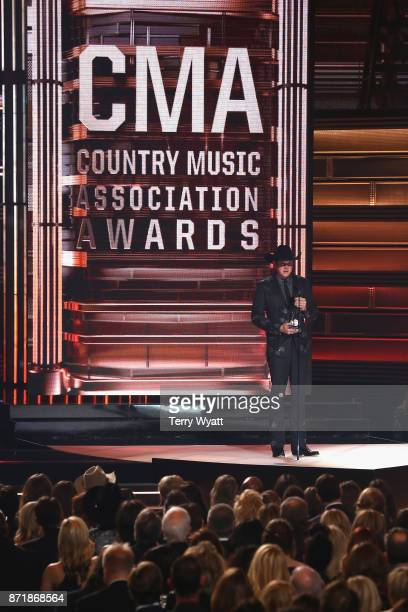 Jon Pardi accepts an award onstage during the 51st annual CMA Awards at the Bridgestone Arena on November 8 2017 in Nashville Tennessee