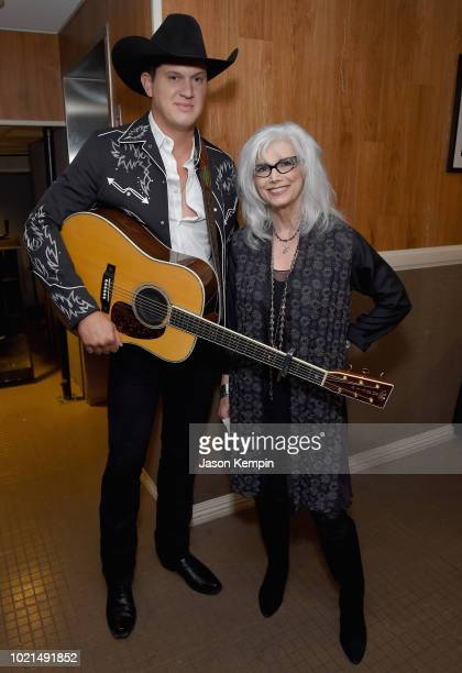 Jon Pardi and Emmylou Harris take photos during the 12th Annual ACM Honors at Ryman Auditorium on August 22 2018 in Nashville Tennessee