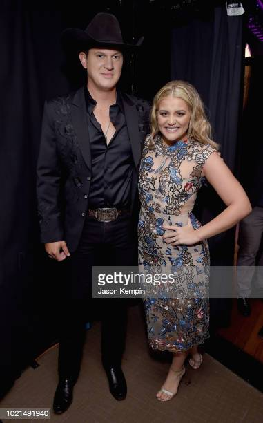 Jon Pardi and Lauren Alaina take photos during the 12th Annual ACM Honors at Ryman Auditorium on August 22 2018 in Nashville Tennessee