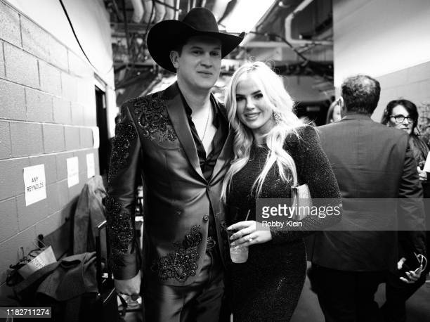 Jon Pardi and Summer Duncan backstage during the 53rd annual CMA Awards at Bridgestone Arena on November 13 2019 in Nashville Tennessee