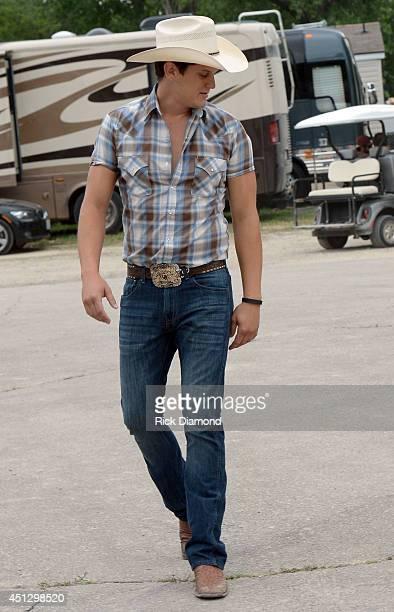 Jon Pardi backstage during 'Kicker Country Stampede' Day 1 at Tuttle Creek State Park on June 26 2014 in Manhattan Kansas