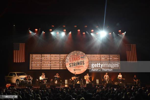 "Jon Pardi, Maren Morris and Ryan Hurd perform on stage during ""Stars and Strings Presented by RAM Trucks Built to Serve,"" a RADIO.COM Event, at the..."