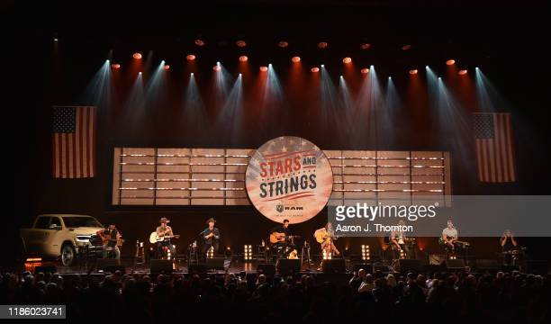 "Jon Pardi Maren Morris and Ryan Hurd perform on stage during ""Stars and Strings Presented by RAM Trucks Built to Serve"" a RADIOCOM Event at the Fox..."