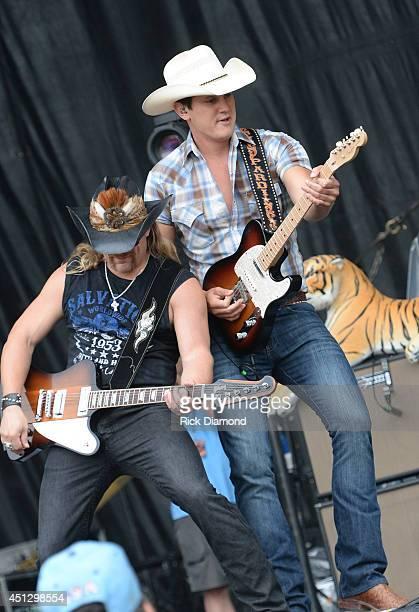 Jon Pardi performs during 'Kicker Country Stampede' Day 1 at Tuttle Creek State Park on June 26 2014 in Manhattan Kansas