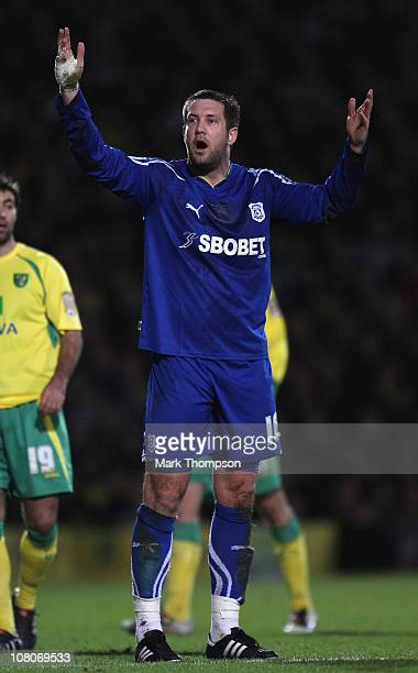 Jon Parkin of Cardiff City in action during the npower Championship match between Norwich City and Cardiff City at Carrow Road on January 15 2011 in...