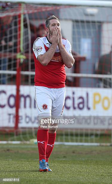 Jon Parkin of Fleetwood Town holds his head after a shot at goal had gone wide during the Sky Bet League Two match between Fleetwood Town and...