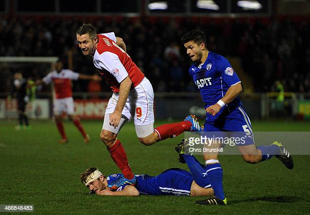 Jon Parkin of Fleetwood Town stamps on Liam Cooper of Chesterfield during the Johnstone's Paint Northern Area Final between Fleetwood Town and...