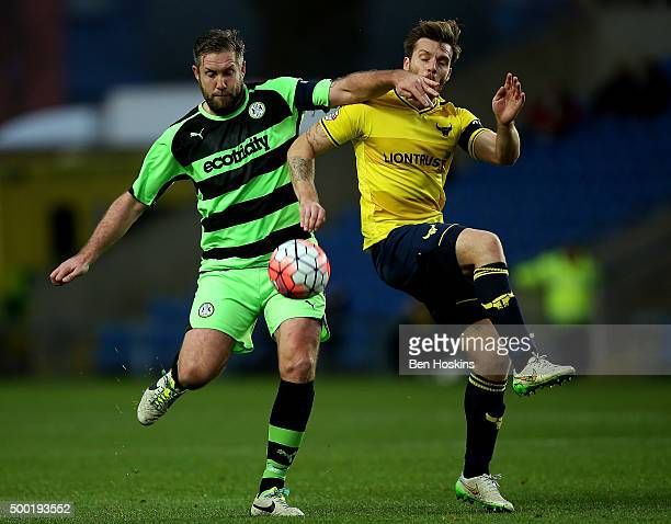 Jon Parkin of Forest Green holds off pressure from Johnny Mullins of Oxford during The Emirates FA Cup Second Round match between Oxford United and...