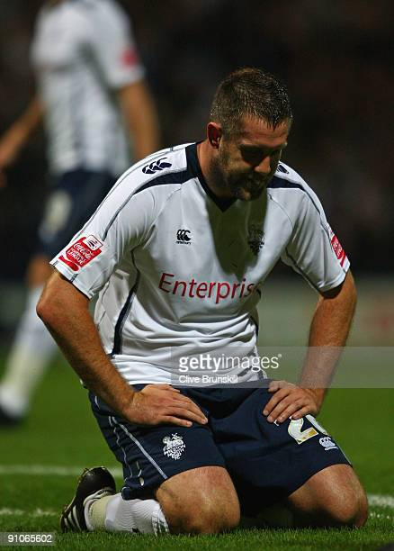 Jon Parkin of Preston North End reacts to a missed chance during the Carling Cup Third round match between Preston North End and Tottenham Hotspur at...