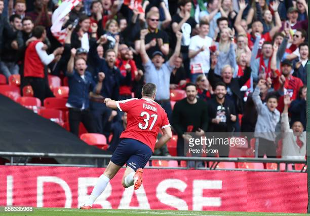 Jon Parkin of York City celebrates after scoring his sides first goal during The Buildbase FA Trophy Final between York City and Macclesfield Town at...