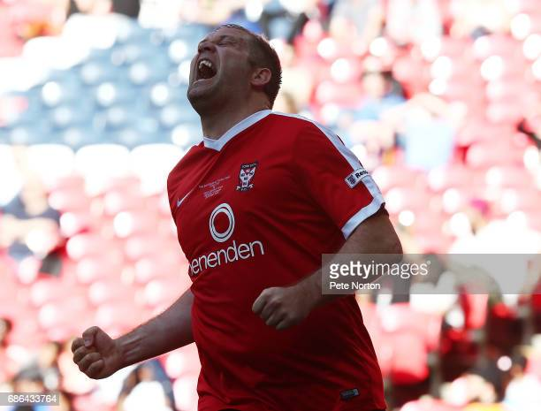 Jon Parkin of York City celebrates after setting up his sides third goal during The Buildbase FA Trophy Final between York City and Macclesfield Town...