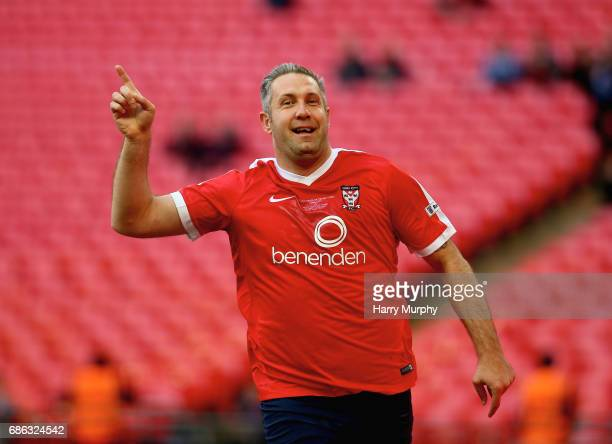 Jon Parkin of York City celebrates scoring his teams frirst goal during the Buildbase FA Trophy Final between York City and Macclesfield Town at...