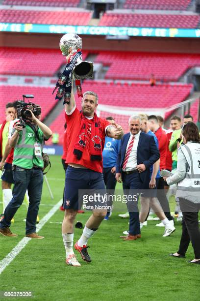 Jon Parkin of York City celebrates victory at the end of The Buildbase FA Trophy Final between York City and Macclesfield Town at Wembley Stadium on...