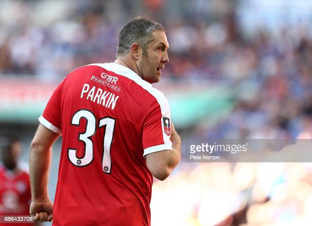 Jon Parkin of York City in action during The Buildbase FA Trophy Final between York City and Macclesfield Town at Wembley Stadium on May 21 2017 in...