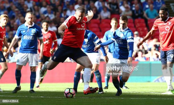 Jon Parkin of York City prepares to have a shot at goal during The Buildbase FA Trophy Final between York City and Macclesfield Town at Wembley...