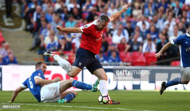 Jon Parkin of York City prepares to shoot for goal to set up his sides third goal scored by Aiden Connolly during The Buildbase FA Trophy Final...