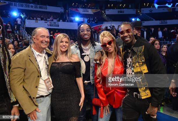 Jon Patrick Ferguson Fergie Quavo Cardi B and Offset attend the NBA AllStar Game 2018 at Staples Center on February 18 2018 in Los Angeles California