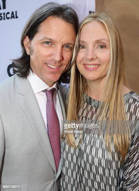 Jon Patrick Walker and wife Hope Davis pose at the opening night of the new musical based on the film Groundhog Day on Broadway at The August Wilson...