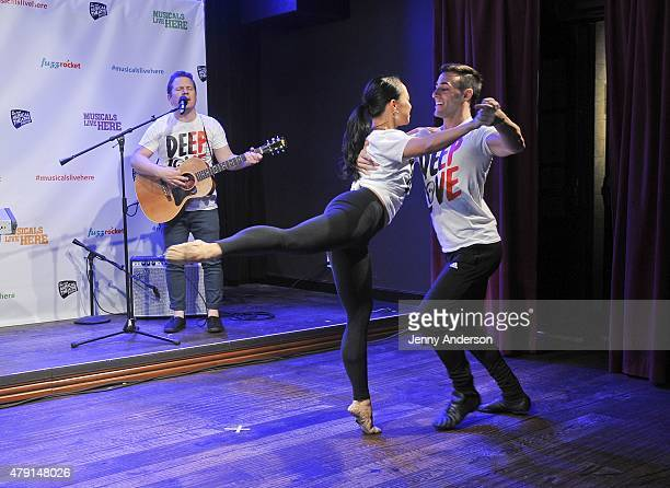 Jon Peter Lewis Pia Hamilton and Adam Di Loreto perform from Deep Love A Chostly Rock Opera during the 2015 New York Musical Theatre Festival press...