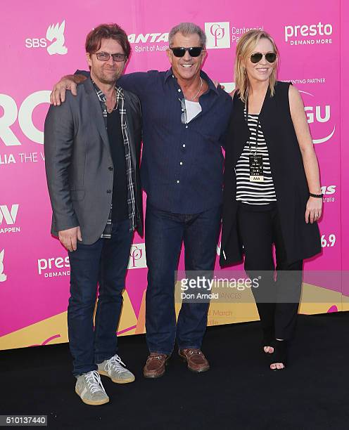 Jon PolsonMel Gibson and Rebecca Gibney arrives ahead of Tropfest 2016 at Centennial Park on February 14 2016 in Sydney Australia