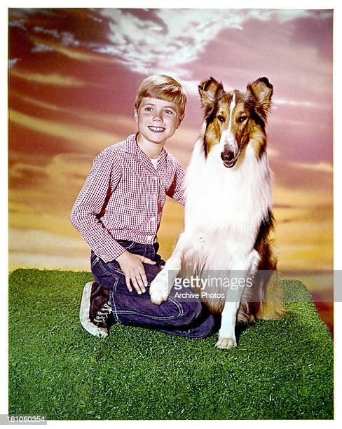 Jon Provost and Lassie in publicity portrait for the television series 'Lassie' 1954