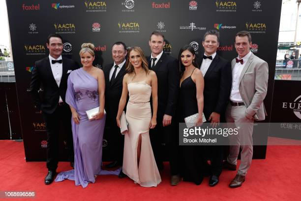 Jon Quested Jessica Stafford Chris Bartholomew Nicole PaytenBetts and Donnie Baxter attend the 2018 AACTA Awards Presented by Foxtel at The Star on...