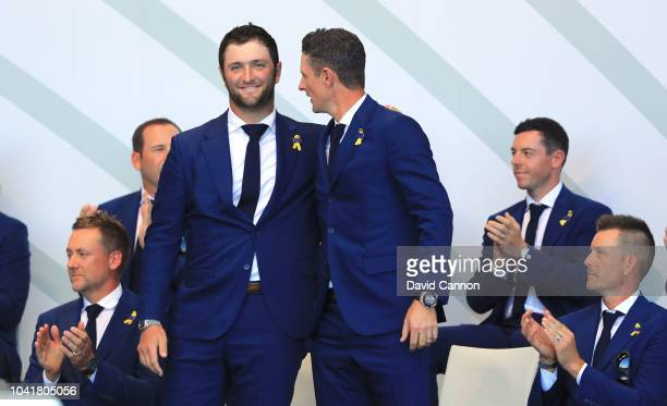 Jon Rahm and Justin Rose of the European Team are introduced as Europe's first pairing for the Friday Fourball matches during the opening ceremony...