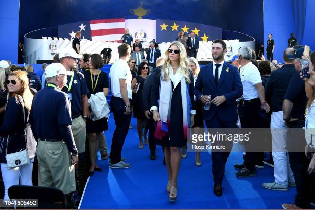 Jon Rahm of Europe and girlfriend Kelley Cahill depart the opening ceremony for the 2018 Ryder Cup at Le Golf National on September 27 2018 in Paris...