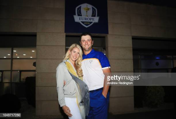 Jon Rahm of Europe and girlfriend Kelley Cahill pose for a photo after singles matches of the 2018 Ryder Cup at Le Golf National on September 30,...