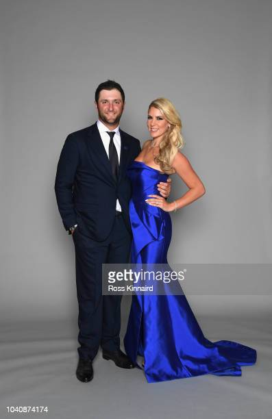 Jon Rahm of Europe poses with his wife Kelley Cahill prior to the 2018 Ryder Cup Gala at the Palace of Versailles on September 26 2018 in Versailles...