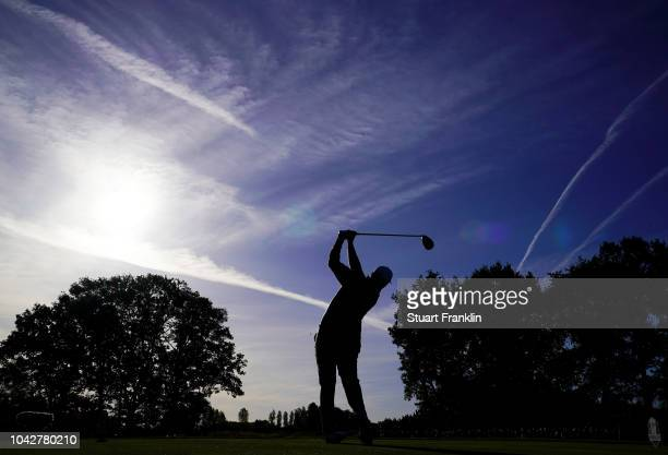 Jon Rahm of Europe tees off during the morning fourball matches of the 2018 Ryder Cup at Le Golf National on September 29, 2018 in Paris, France.