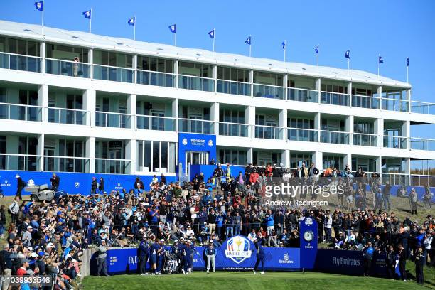 Jon Rahm of Europe tees off on the 17th hole during practice ahead of the 2018 Ryder Cup at Le Golf National on September 25 2018 in Paris France
