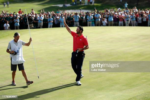 Jon Rahm of Spain acknowledges the crowd as he celebrates winning the Open de Espana during Day four of the Open de Espana at Club de Campo Villa de...