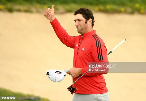 Jon Rahm of Spain acknowledges the crowd on the 18th green during Day Four of the Open de Espana at Centro Nacional de Golf on April 15 2018 in...