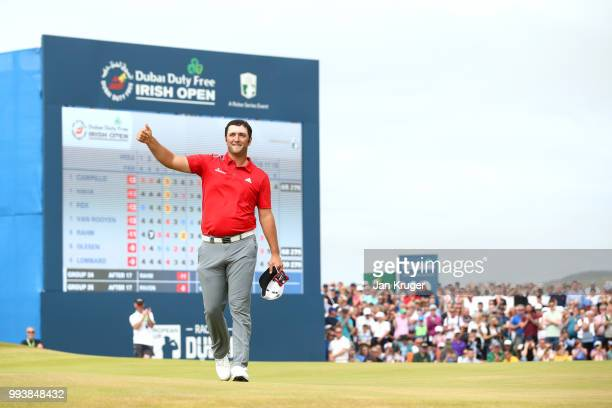 Jon Rahm of Spain acknowledges the crowd on the 18th hole during the final round of the Dubai Duty Free Irish Open at Ballyliffin Golf Club on July...