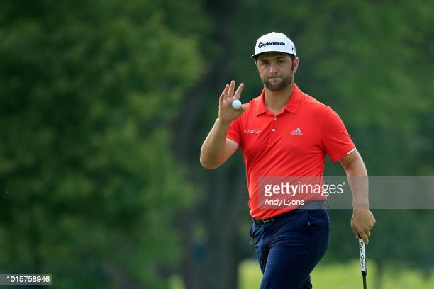 Jon Rahm of Spain acknowledges the crowd on the eighth green during the final round of the 2018 PGA Championship at Bellerive Country Club on August...