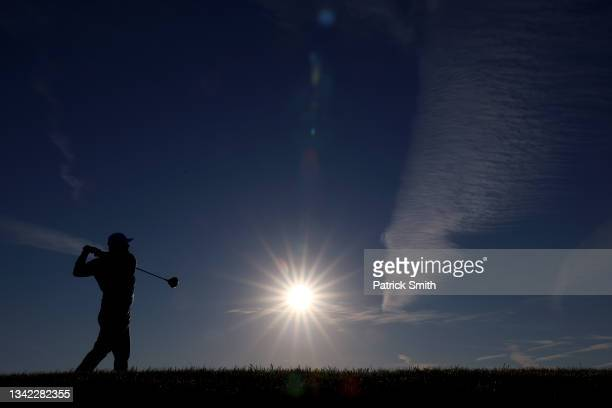 Jon Rahm of Spain and team Europe plays his shot from the fourth tee during Friday Morning Foursome Matches of the 43rd Ryder Cup at Whistling...