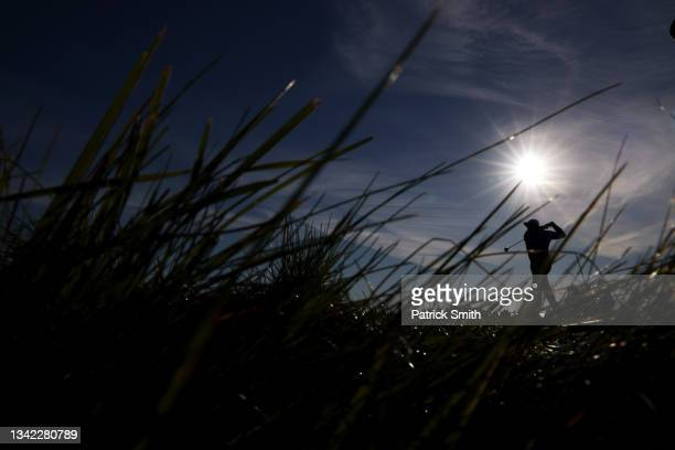 Jon Rahm of Spain and team Europe plays his shot from the sixth tee during Friday Morning Foursome Matches of the 43rd Ryder Cup at Whistling Straits...