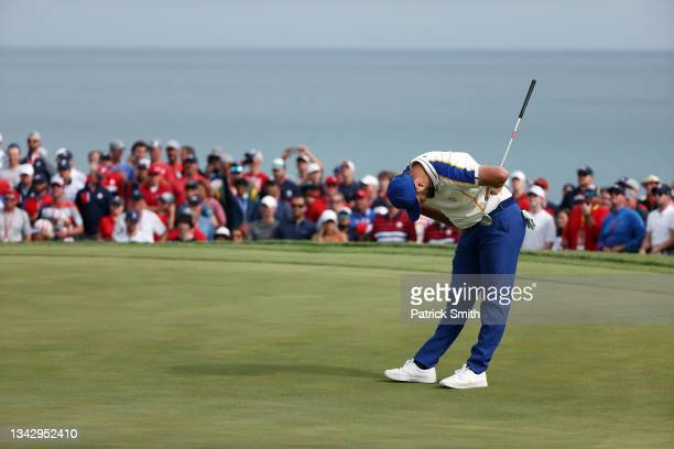 Jon Rahm of Spain and team Europe reacts on the 15th green as he loses to Scottie Scheffler of team United States 4&3 during Sunday Singles Matches...