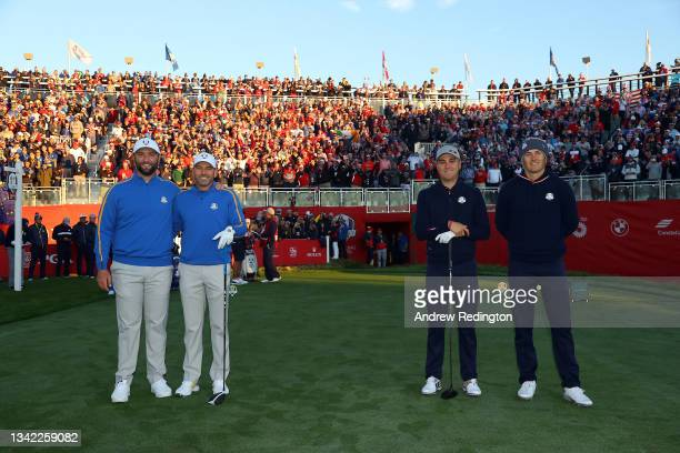 Jon Rahm of Spain and team Europe, Sergio Garcia of Spain and team Europe, Justin Thomas of team United States, and Jordan Spieth of team United...